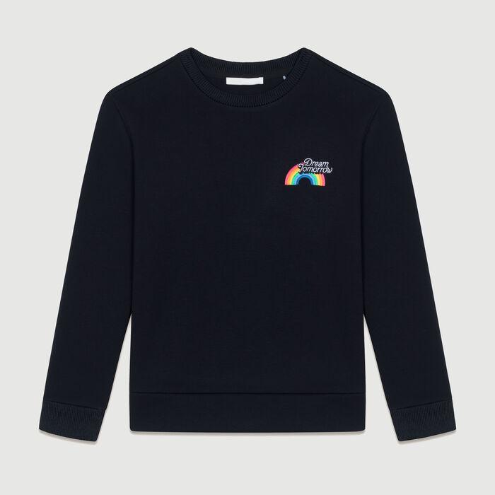 Sudadera de algodón con texto : Malla color Negro