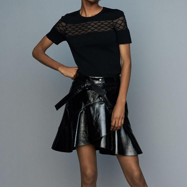 Top de punto strech con detalles en tul : Nueva Colección color Negro