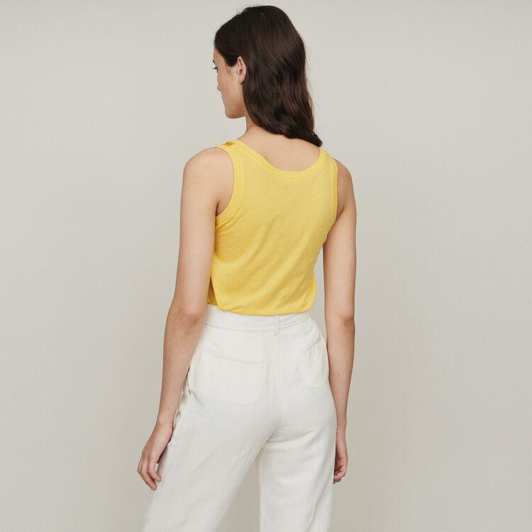 Camiseta de tirantes loose de seda : T-Shirts color Amarillo