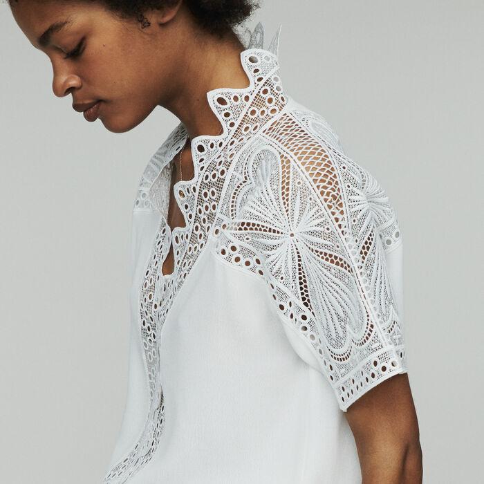 Top de guipur : Tops y Camisas color Blanco Roto