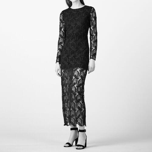 Vestido largo de encaje : Vestidos color Negro