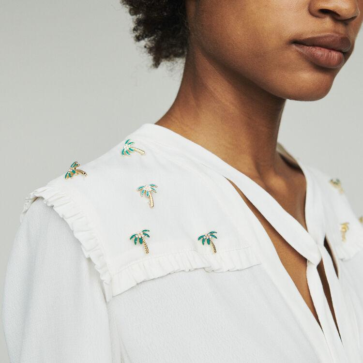 Cazadora de crepé con joya palmeras : Tops y Camisas color ECRU