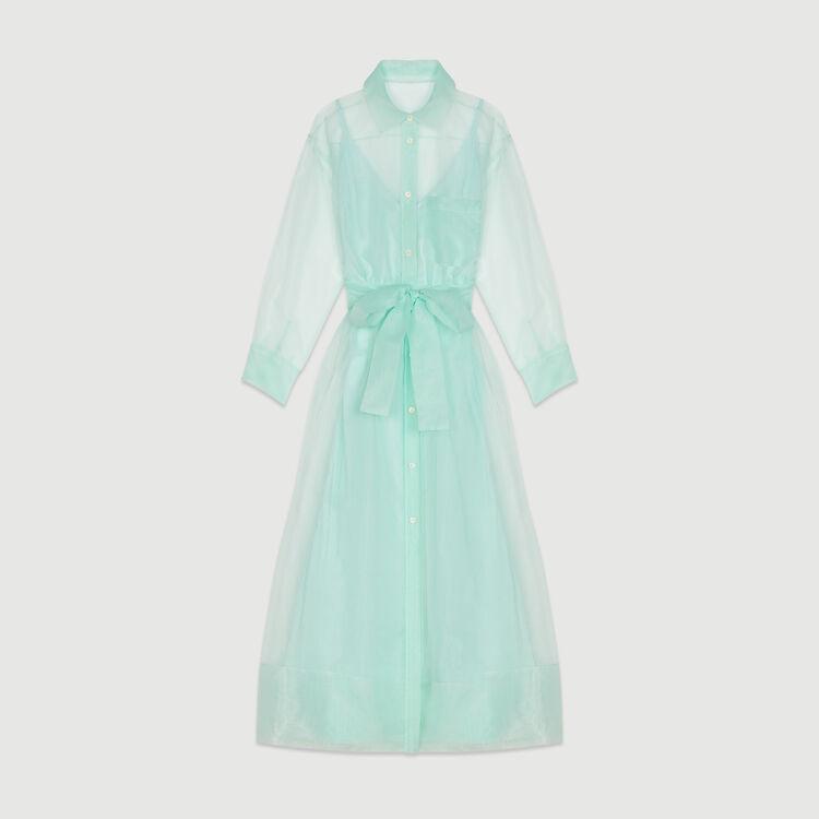 Vestido-camisero largo tipo organdi : Vestidos color Verde Agua