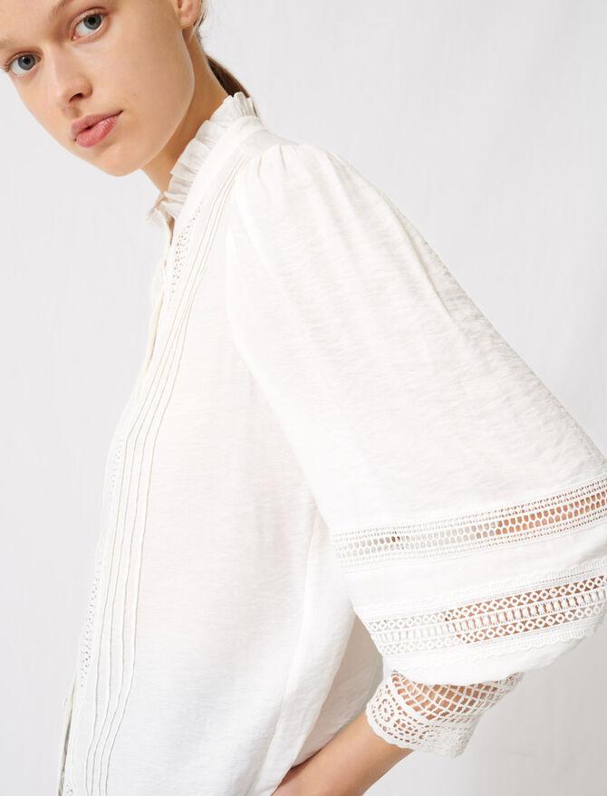 Camisa romántica de algodón y encaje - Tops y Camisas - MAJE