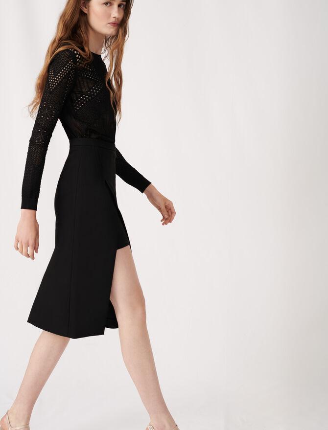 Falda midi recta y endida - Faldas y shorts - MAJE