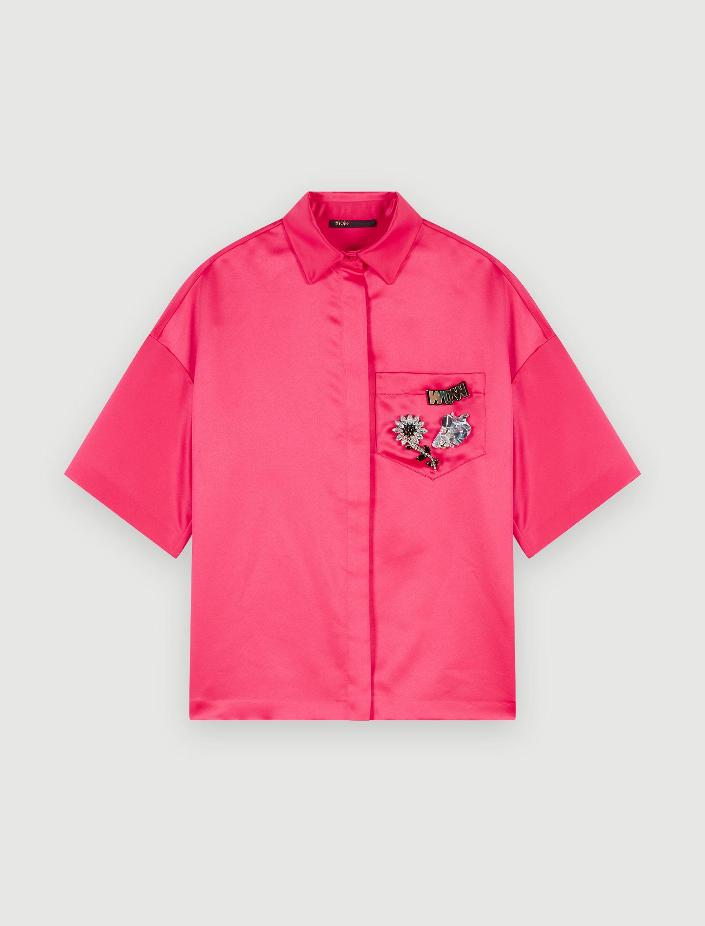 Blusa de raso con joya en el bolsillo - Tops y Camisas - MAJE