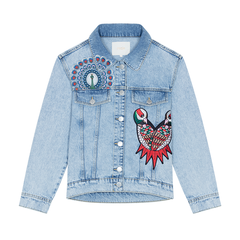 Jacket Denim with embroidery  - Chaquetas - MAJE