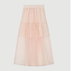 Falda larga tipo organza
